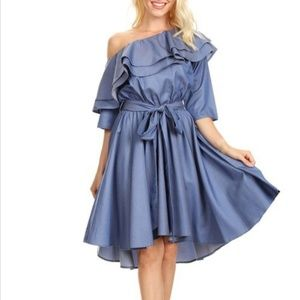 Fit and Flare Off Shoulder Pleated Dress